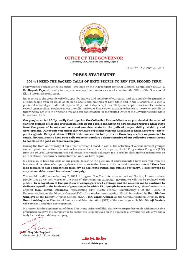 2014: Fayemi Expresses Interest, Names Campaign Team