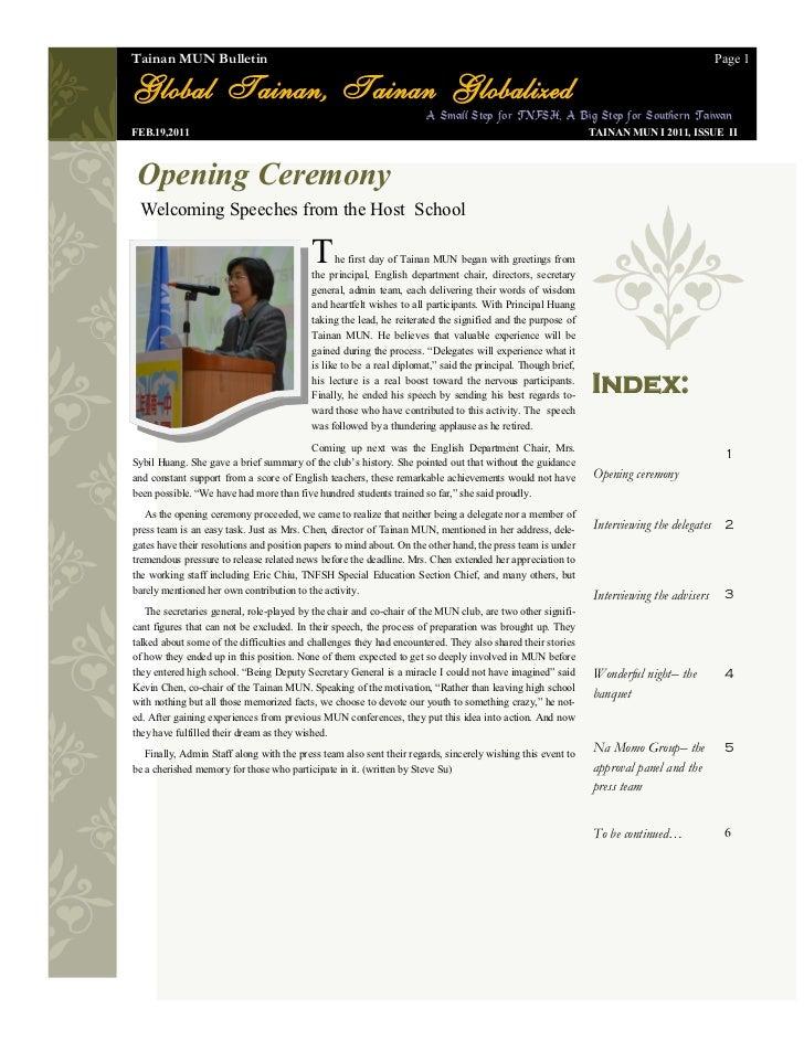 The Tainan MUN I Bulletin