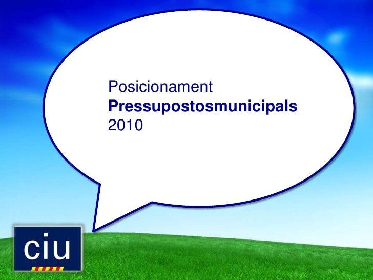 Posicionament CiU als Pressupostos municipals 2010