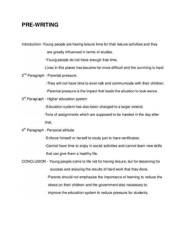 Thesis on leisure time activities essay