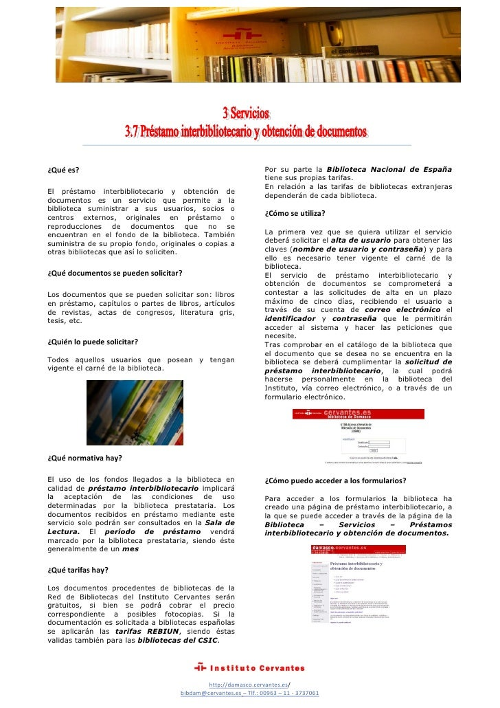 Prestamo interbibliotecario y obtención de documentos Biblioteca Álvaro Cunqueiro Instituto Cervantes de Damasco