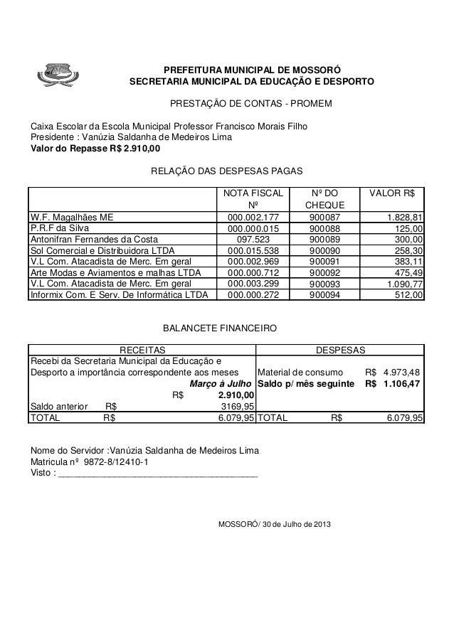 3  SETEMBR 1883  O  E 0D  PREFEITURA MUNICIPAL DE MOSSORÓ SECRETARIA MUNICIPAL DA EDUCAÇÃO E DESPORTO PRESTAÇÃO DE CONTAS ...