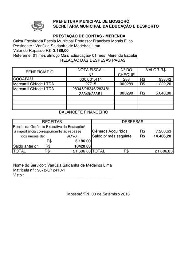 PREFEITURA MUNICIPAL DE MOSSORÓ SECRETARIA MUNICIPAL DA EDUCAÇÃO E DESPORTO  1883  O  3  E SETEMBR  0D  PRESTAÇÃO DE CONTA...