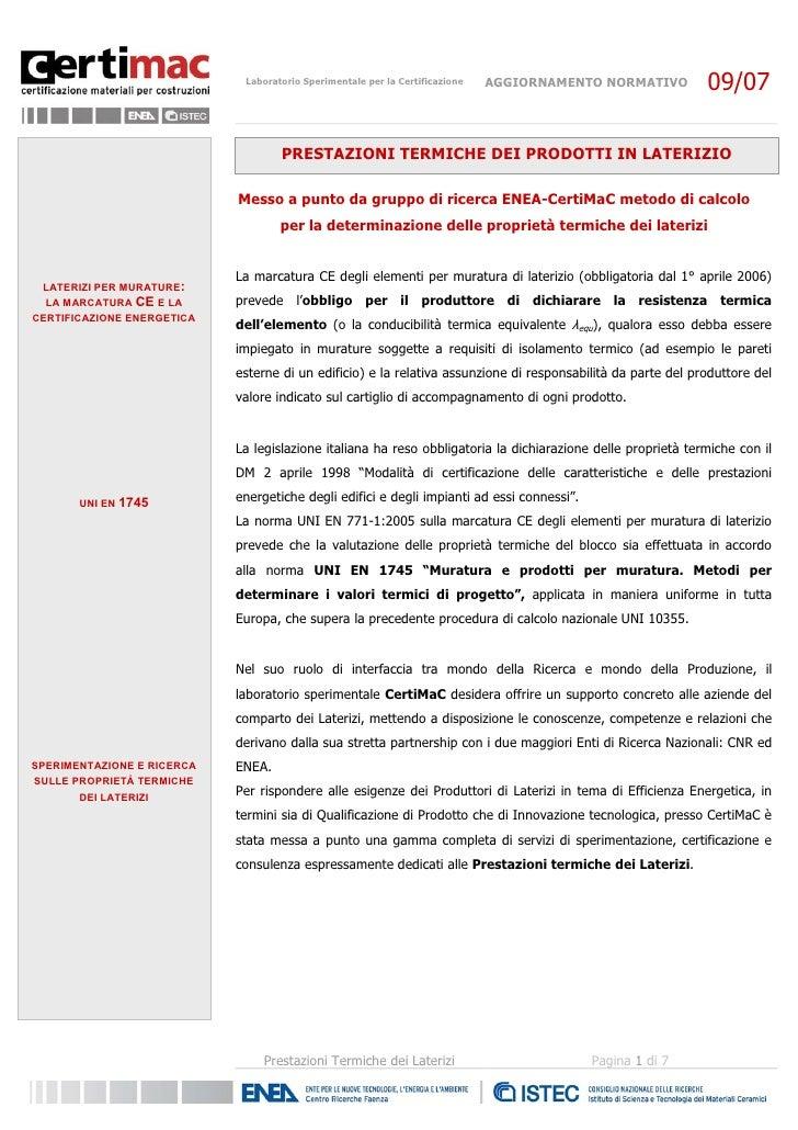 Certimac: Prestazioni termiche dei laterizi