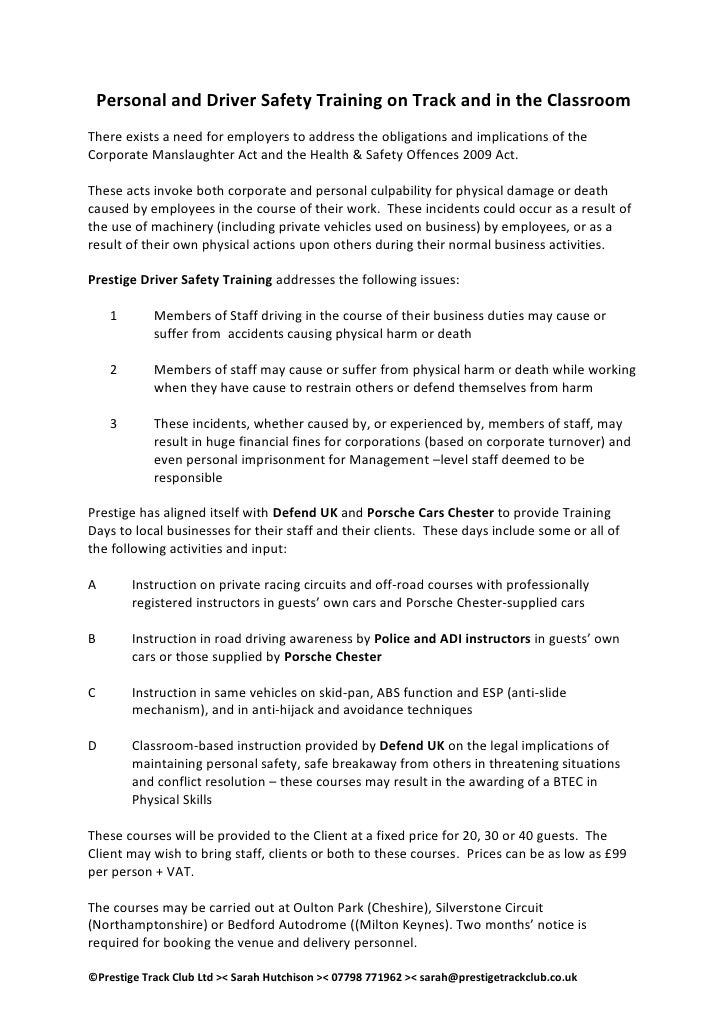Prestige Safety Training Proposal 2010