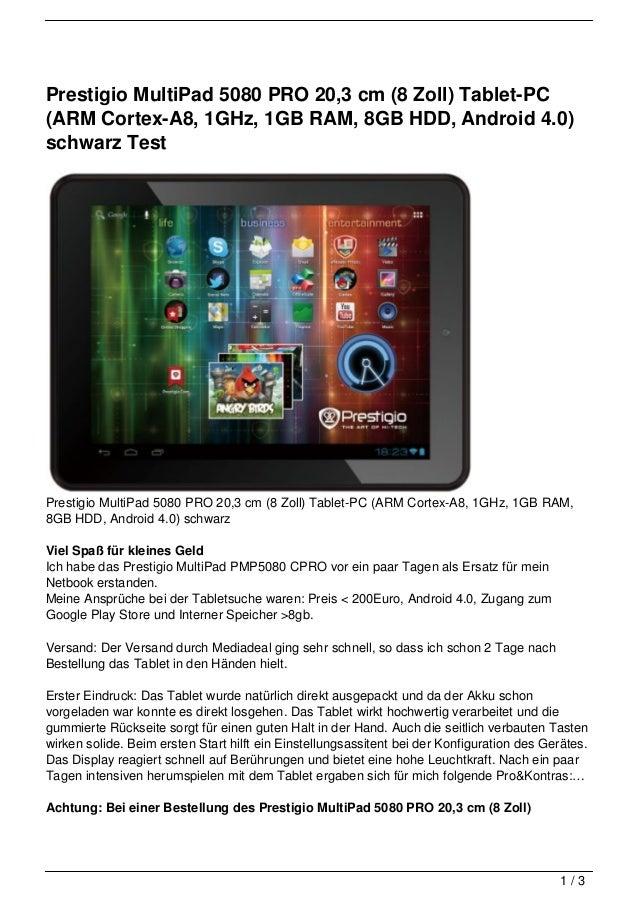 Prestigio MultiPad 5080 PRO 20,3 cm (8 Zoll) Tablet-PC(ARM Cortex-A8, 1GHz, 1GB RAM, 8GB HDD, Android 4.0)schwarz TestPres...