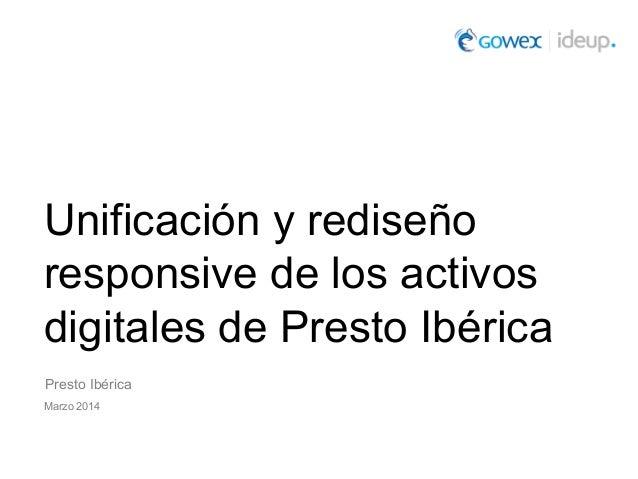 Unificación y rediseño responsive de los activos digitales de Presto Ibérica Presto Ibérica Marzo 2014