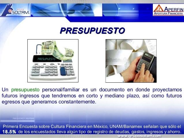 MR  PRESUPUESTO  Un presupuesto personal/familiar es un documento en donde proyectamos futuros ingresos que tendremos en c...