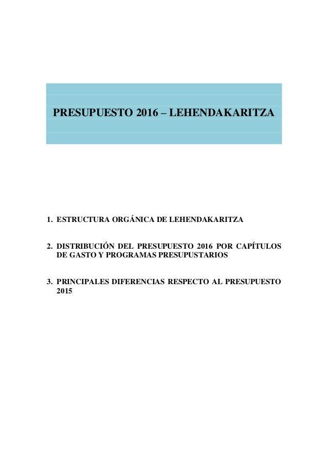 PRESUPUESTO 2016 – LEHENDAKARITZA 1. ESTRUCTURA ORGÁNICA DE LEHENDAKARITZA 2. DISTRIBUCIÓN DEL PRESUPUESTO 2016 POR CAPÍTU...