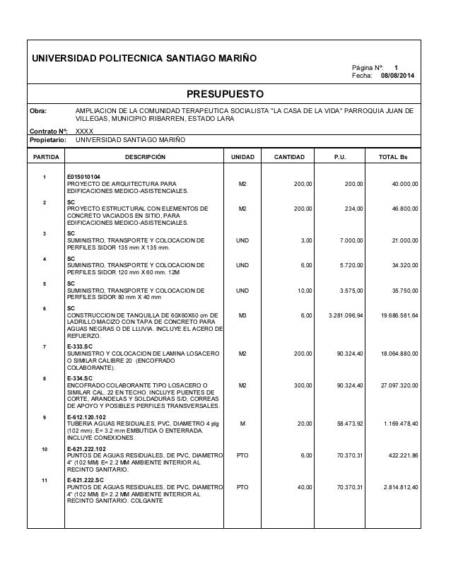 Ejemplo presupuesto de obra presupuesto de obra - Presupuestos de obras ...