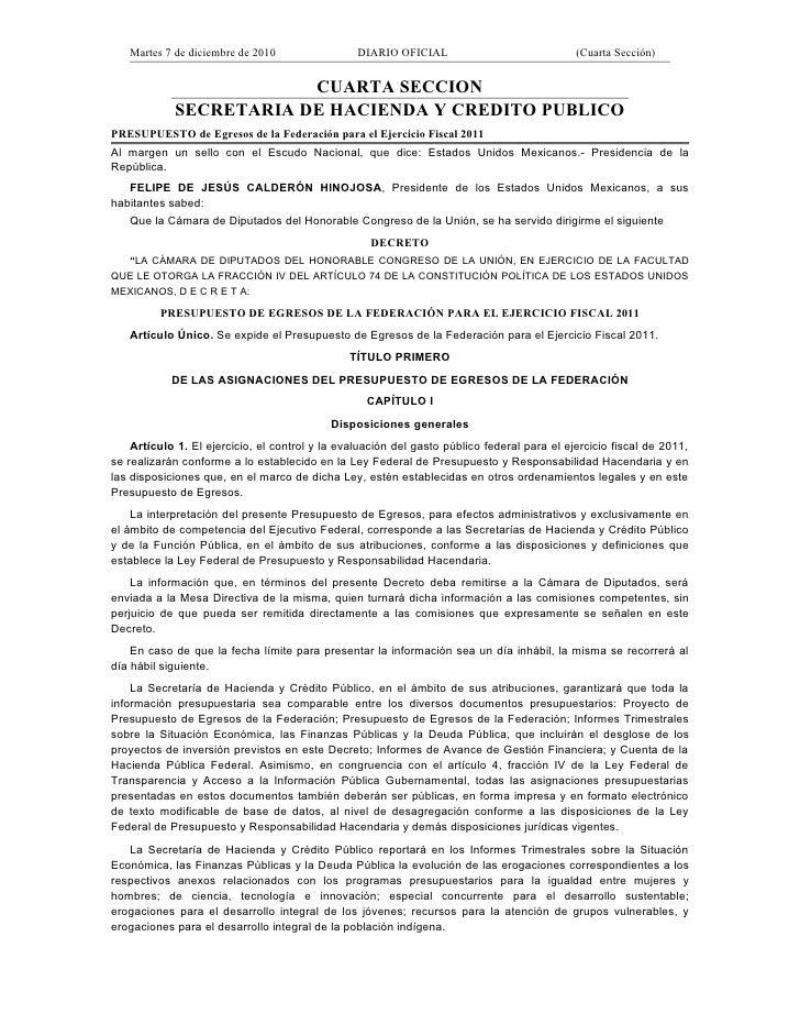 Martes 7 de diciembre de 2010                 DIARIO OFICIAL                              (Cuarta Sección)                ...
