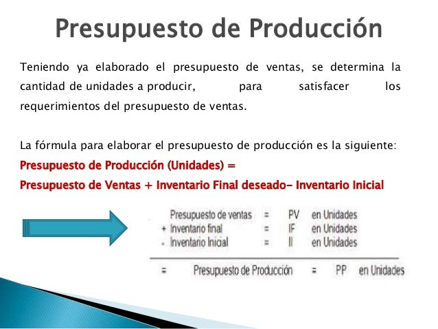 Elaboracion de un Presupuesto de Produccion Presupuesto de Producci n