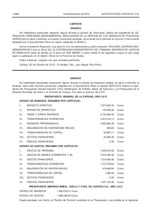 14366  13 de Noviembre de 2013  BOLETIN OFICIAL HUELVA N.º 218  CARTAYA ANUNCIO No habiéndose presentado alegación alguna ...