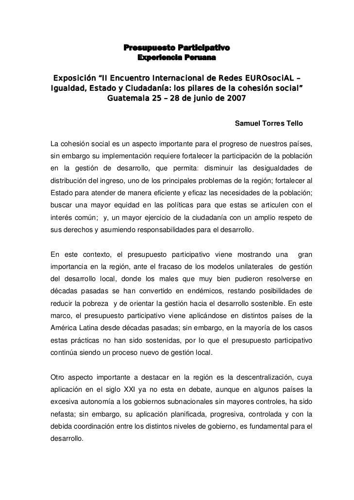 Presupuesto participativo   del peru en guatemala 1
