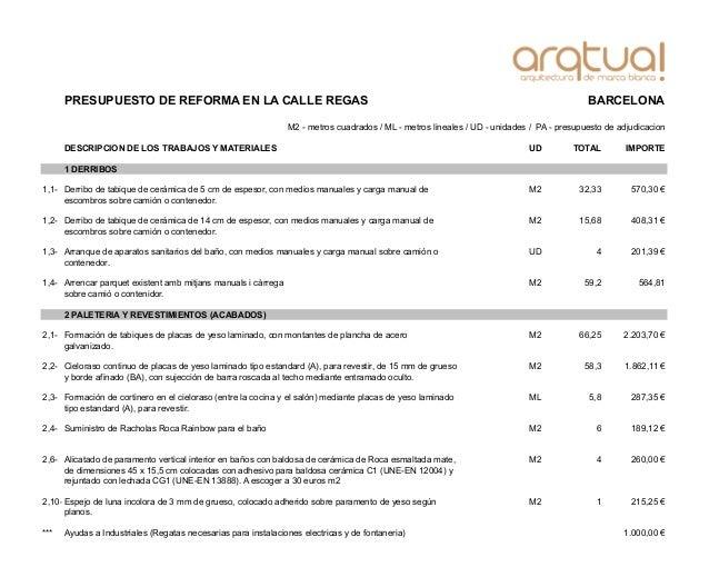 PRESUPUESTO DE REFORMA EN LA CALLE REGAS BARCELONA DESCRIPCION DE LOS TRABAJOS Y MATERIALES UD TOTAL IMPORTE 1 DERRIBOS 1,...