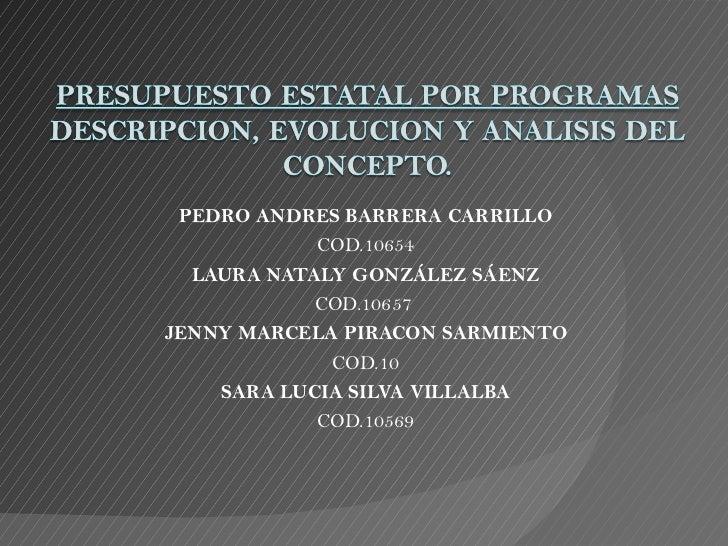 Presupuestos por Programas, ESAP.