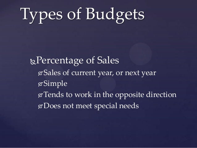 Types of Budgets Percentage of Sales      Sales of current year, or next year      Simple      Tends to work in the op...