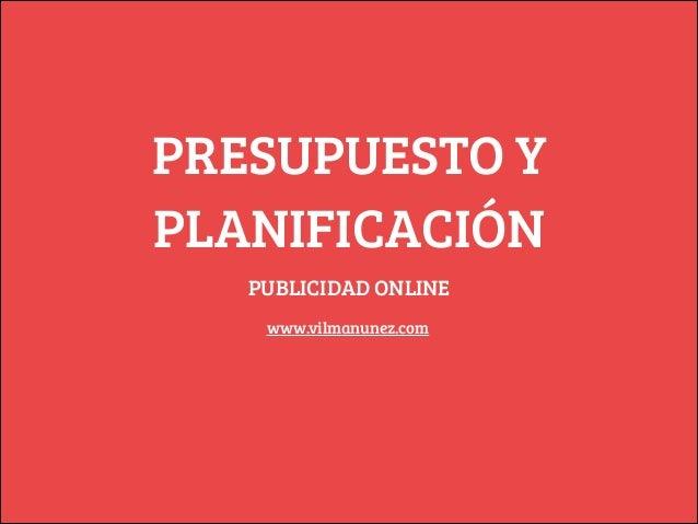 PRESUPUESTO Y PLANIFICACIÓN PUBLICIDAD ONLINE www.vilmanunez.com