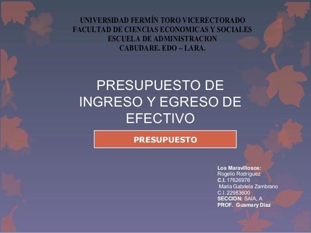 UNIVERSIDAD FERMÍN TORO VICERECTORADO FACULTAD DE CIENCIAS ECONOMICAS Y SOCIALES ESCUELA DE ADMINISTRACION CABUDARE. EDO –...