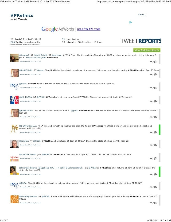 #PRethics on Twitter | All Tweets | 2011-09-27 | TweetReports                                     http://search.tweetrepor...