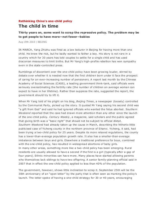 P rethinking china's one child policy
