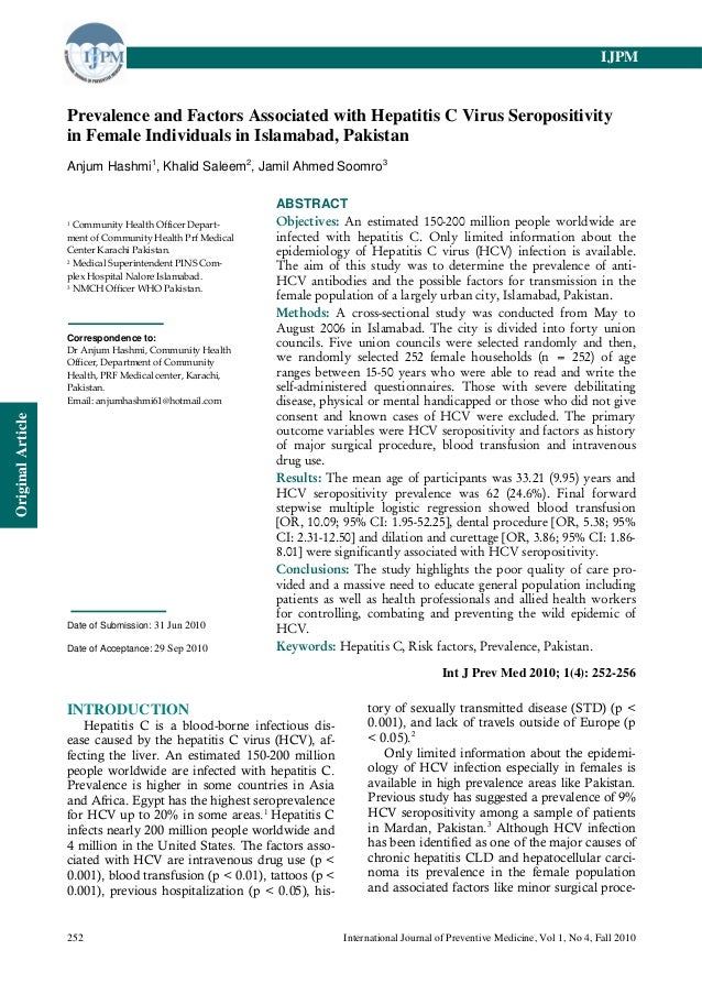 IJPM                   Prevalence and Factors Associated with Hepatitis C Virus Seropositivity                   in Female...