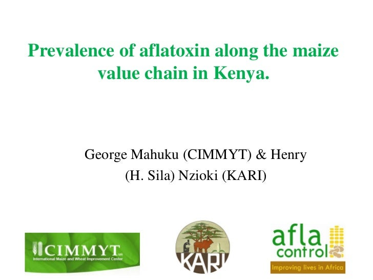 Prevalence of aflatoxin along the maize        value chain in Kenya.       George Mahuku (CIMMYT) & Henry             (H. ...