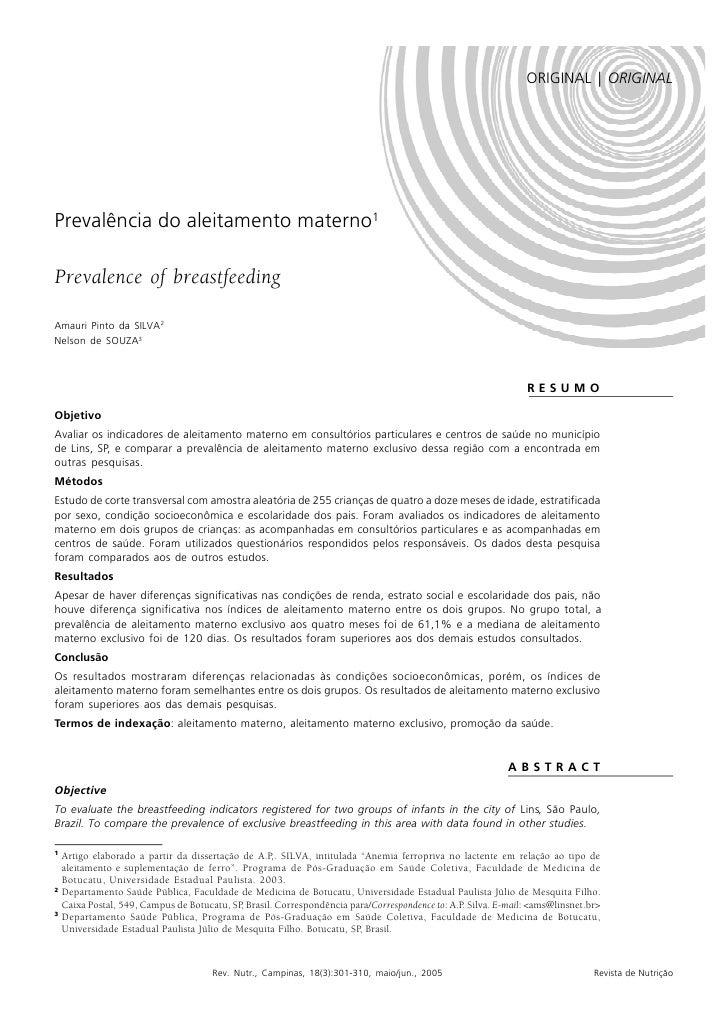 PREVALÊNCIA DO ALEITAMENTO MATERNO   301                                                                                  ...