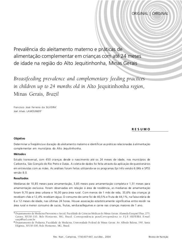 PREVALÊNCIA NO ALEITAMENTO MATERNO   437 Rev. Nutr., Campinas, 17(4):437-447, out./dez., 2004 Revista de Nutrição 1 Depart...
