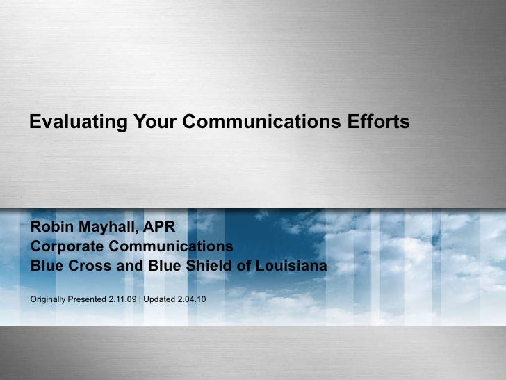 Evaluating Your Communications Efforts