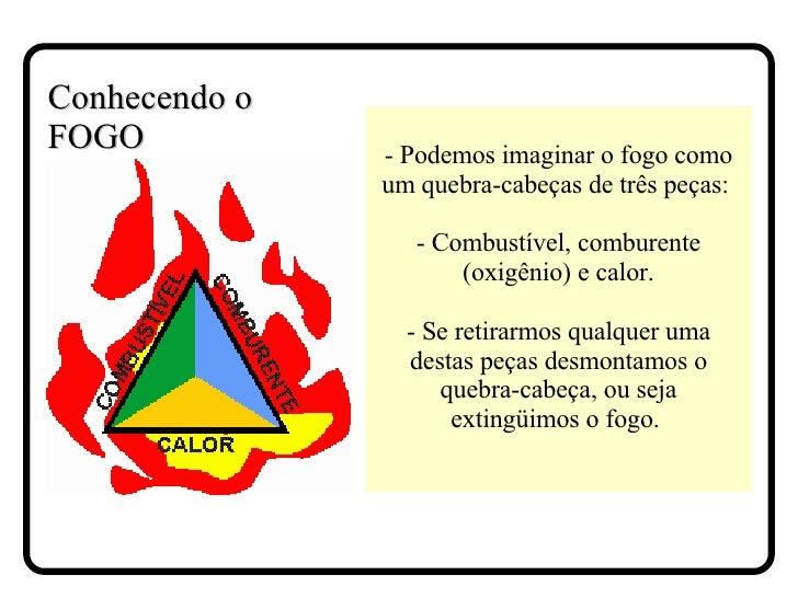 - Podemos imaginar o fogo como um quebra-cabeças de três peças:  - Combustível, comburente (oxigênio) e calor. - Se retira...