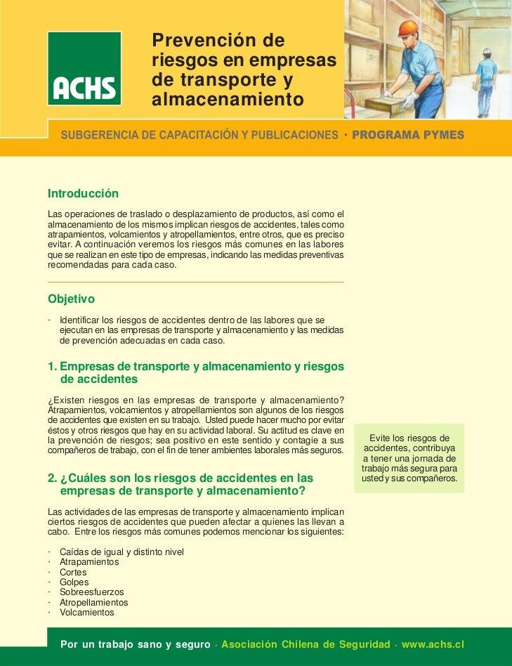 Prevención de                           riesgos en empresas                           de transporte y                     ...