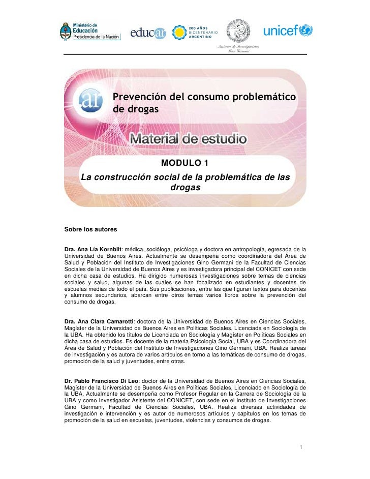 Prevención del consumo problemático                   de drogas                                      MODULO 1      La cons...