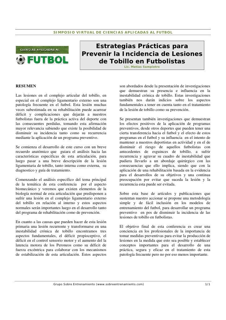 SIMPOSIO VIRTUAL DE CIENCIAS APLICADAS AL FUTBOL                                            Estrategias Prácticas para    ...