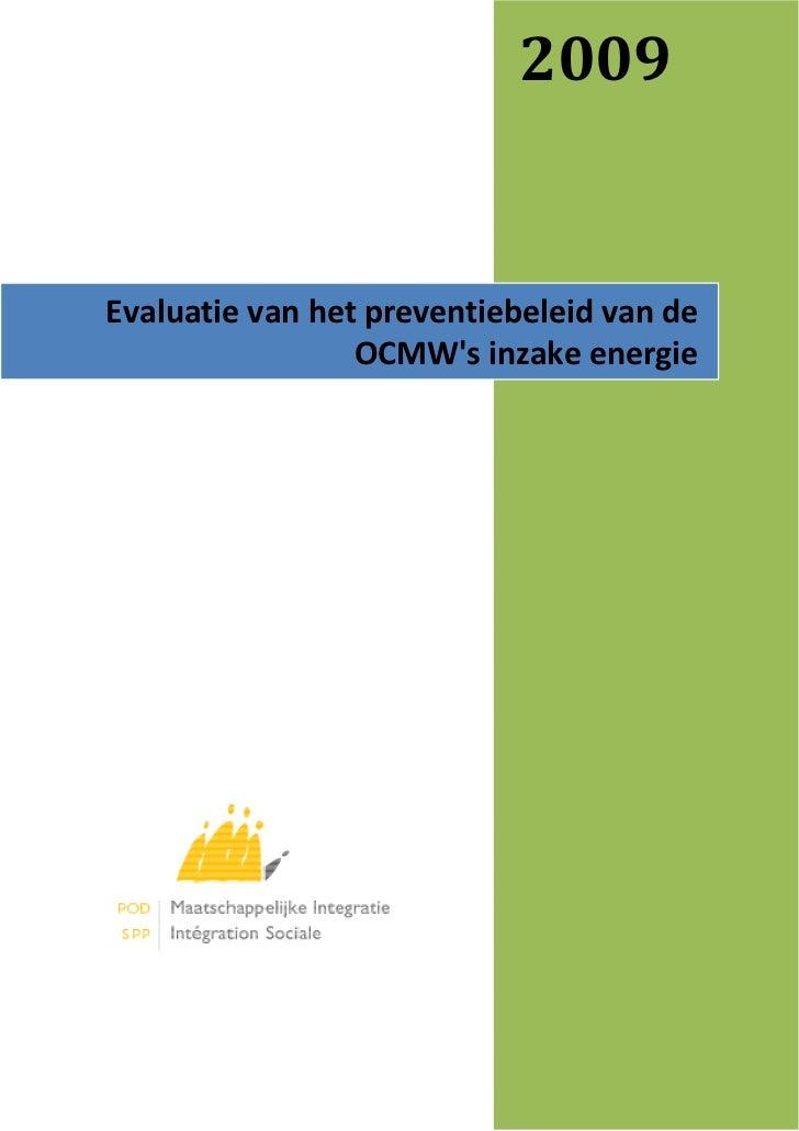 De evaluatie van het preventiebeleid van de OCMW's inzake energie (2009):
