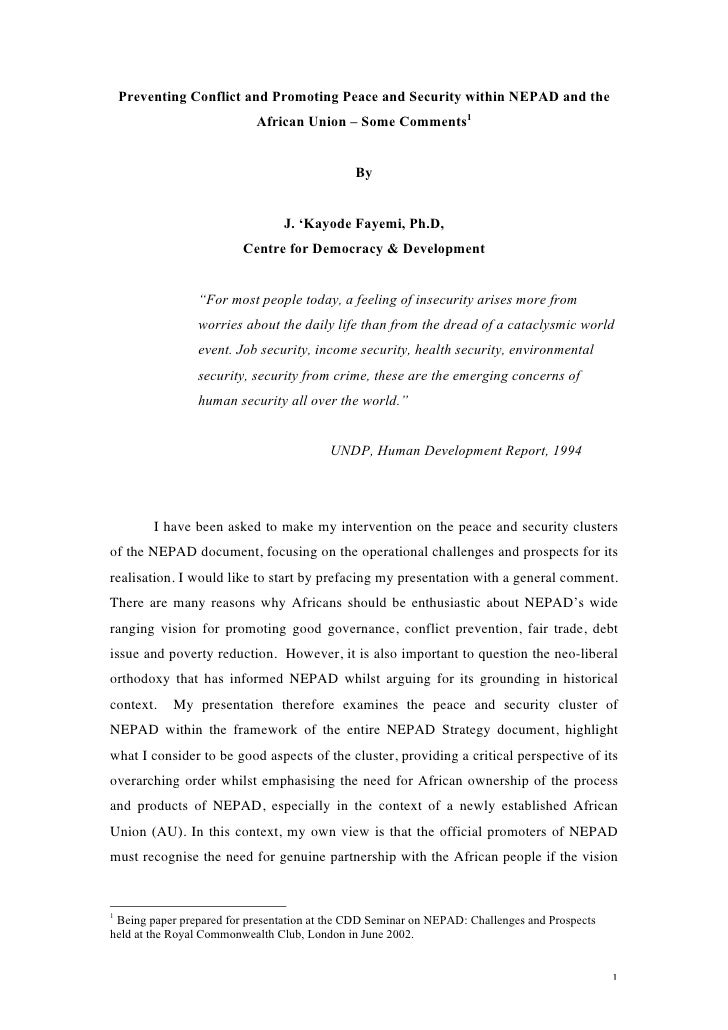 Preventing Conflict and Promoting Peace and Security Within NEPAD and the African Union – Some Comments