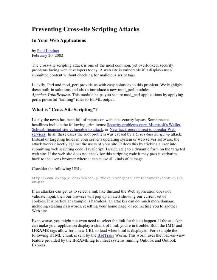 Preventing Xs Sin Perl Apache