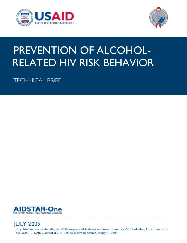 |PREVENTION OF ALCOHOL-RELATED HIV RISK BEHAVIORTECHNICAL BRIEF___________________________________________________________...