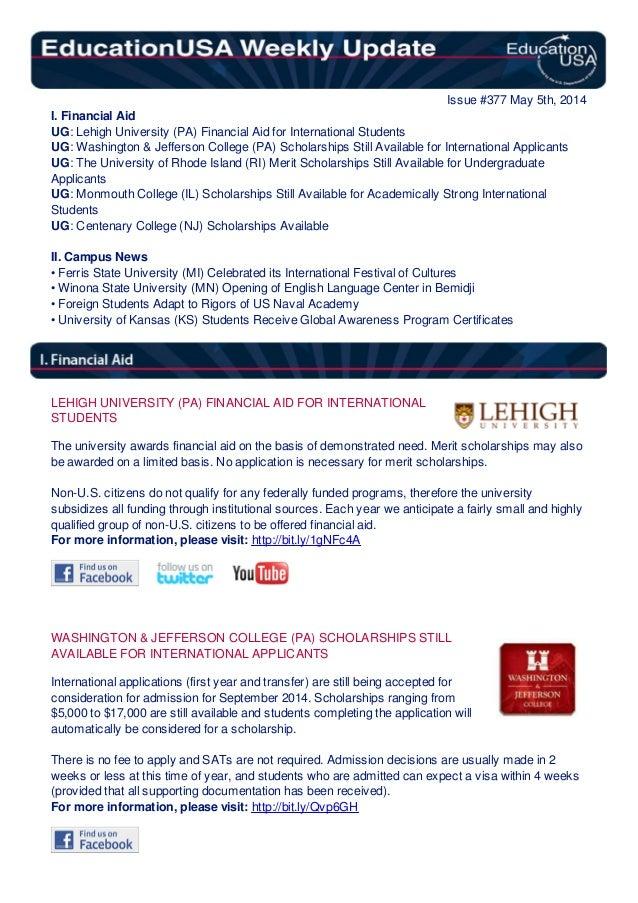 EducationUSA Weekly Update, #377 May 5, 2014