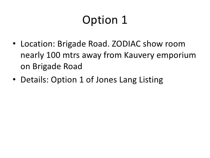 Option 1• Location: Brigade Road. ZODIAC show room  nearly 100 mtrs away from Kauvery emporium  on Brigade Road• Details: ...