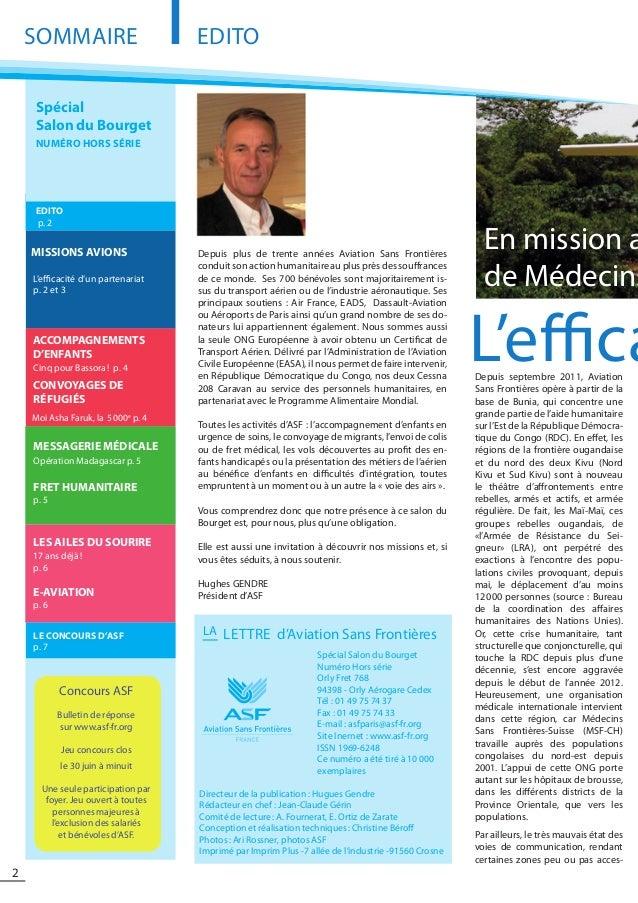 2 L'effica SOMMAIRE MISSIONS AVIONS CONVOYAGES D'ENFANTS MESSAGERIE MÉDICALE Opération Madagascar p. 5 LES AILES DU SOURIR...