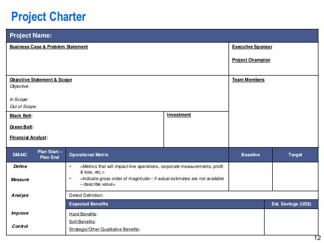 Six Sigma Project Charter Template Excel Shefftunes