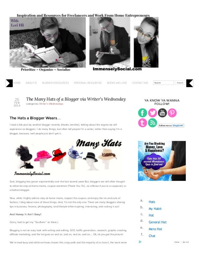 The Many Hats of a Blogger via Writer's Wednesday and Immensely Social
