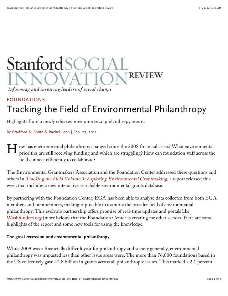 Tracking the Field of Environmental Philanthropy | Stanford Social Innovation Review                6/21/12 9:36 AMFOUNDAT...