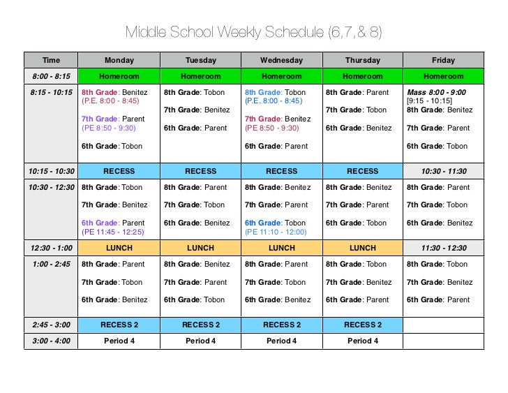 Middle School Weekly Schedule (6,7,& 8)    Time               Monday              Tuesday             Wednesday           ...