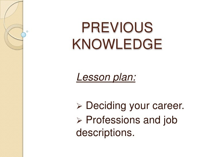 Previous Knowledge presentation