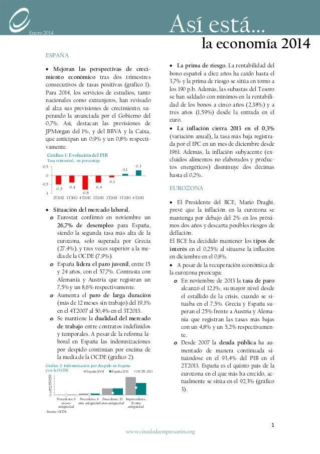 Previsiones de crecimiento económico al alza (Así está la economía... Enero 2014)