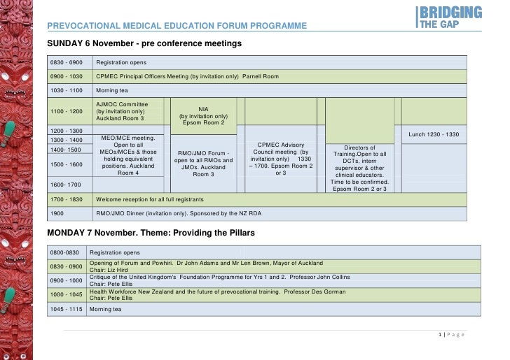 PREVOCATIONAL MEDICAL EDUCATION FORUM PROGRAMMESUNDAY 6 November - pre conference meetings0830 - 0900     Registration ope...