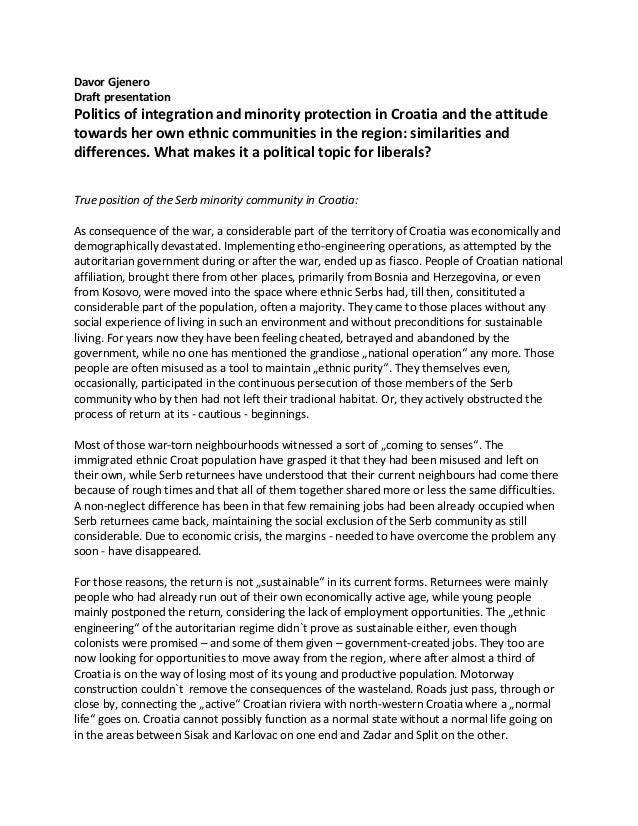 Davor Gjenero Draft presentation  Politics of integration and minority protection in Croatia and the attitude towards her ...