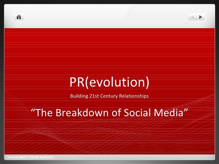 """PR(evolution) Building 21st Century Relationships """" The Breakdown of Social Media"""" ®Jessica Ayers 